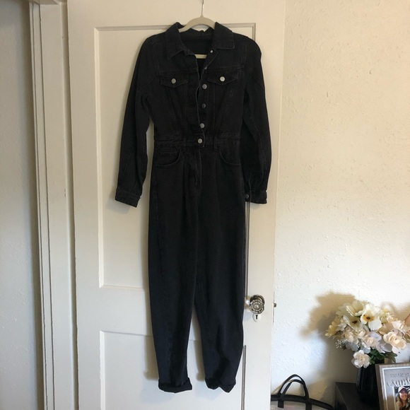 Black Denim Jumpsuit / XS